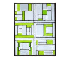 Lime Block - stained glass panel