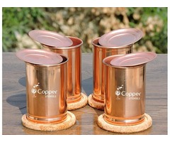 Shop for Set of Four Plain Copper Tumblers with Matching Lids