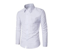 Tidebuy Solid Color Mens Business Casual Shirt