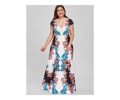 Tidebuy Plusee V Neck Print Floral Womens Maxi Dress