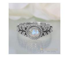 Moonstone Ring Glittering Petals - GSJ