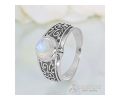 Moonstone Ring Obsidian Folklore - GSJ