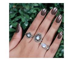 Moonstone Ring Azure Drop - GSJ
