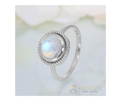 Moonstone Ring Fiery Ornament - GSJ