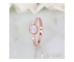 14K Rose Gold Moonstone Ring Leisure - GSJ