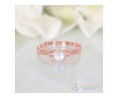 14K Rose Gold Moonstone Ring Prosperity - GSJ