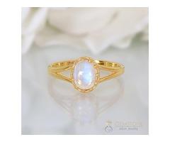 14k Yellow Gold Vermeil Moonstone Ring Verve- GSJ