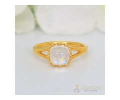14k Yellow Gold Vermeil Moonstone Ring Plushness- GSJ
