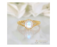 14k Yellow Gold Vermeil Moonstone Ring Honor- GSJ