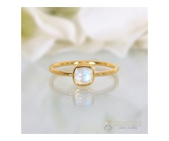 14k Yellow Gold Vermeil Moonstone Ring Rhythm- GSJ