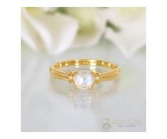 14k Yellow Gold Vermeil Moonstone Ring Prosperity - GSJ