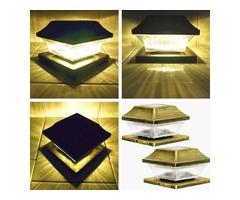 Deck post solar lights, solar deck cap lights, solar deck post caps