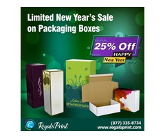 25% New Year's Sale on Packaging Boxes by RegaloPrint