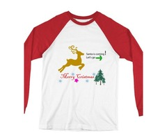 Long Sleeve Baseball Santa & Merry Christmas T-Shirt