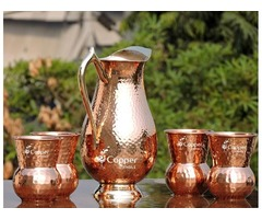 Shop for Mughlai Style Copper Jug with Four Matching Tumblers