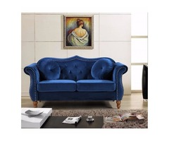 BRIDGES CLASSIC NAILHEAD CHESTERFIELD LOVESEAT• FURNITURE COAST TO COAST
