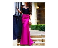 Elegant Scoop Neck Half Sleeve Lace Trumpet Evening Dress