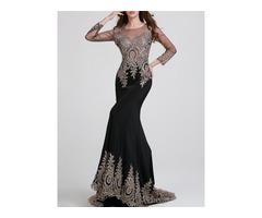 Sheer Back Long Sleeves Mermaid Black Appliques Long Evening Dress