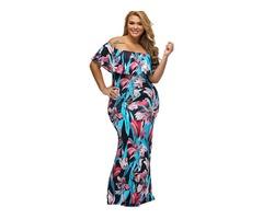 Slash Neck Floral Imprint Plus Size Womens Maxi Dress