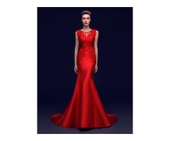 Graceful Scoop Neck Bowknot Beading Lace Mermaid Evening Dress