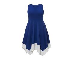 Asymmetrical Color Block Sleeveless Plus Size Womens Skater Dress