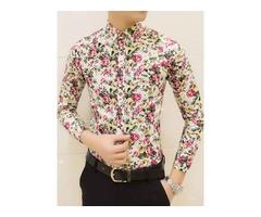 Lapel Slim Floral Print Mens Casual Shirt