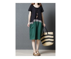 Tidebuy Color Block Patchwork Cotton Womens Casual Dress