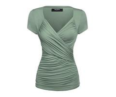 V-Neck Slim Pleated Womens T-shirt