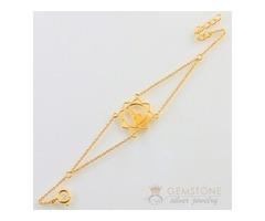 14k Gold Moonstone & buddha good karma chakra bracelet