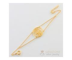 14k Gold Moonstone & hand of fatima good karma chakra bracelet