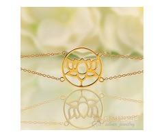 14k Gold Moonstone Bracelet & lotus good karma chakra bracelet