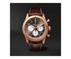 Navitimer 1 Rattrapante Chronometer 45mm 18-Karat Red Gold and Crocodile Watch | free-classifieds-usa.com
