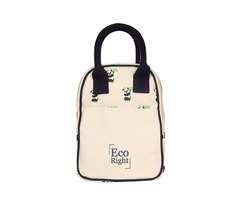 Ecofriendly Canvas Lunch Tote Bag with Bottle Holder & Zipper for Travel shipping business washable