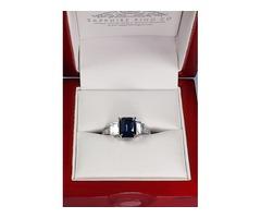 Blue Asscher Cut Sapphire Platinum Ring