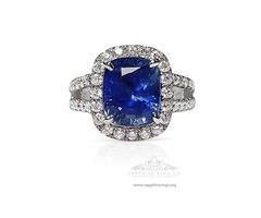 Blue Ceylon Sapphire Platinum Ring