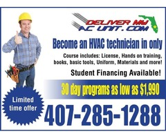 HVAC Classes are only 30 days long with Convenient payment plans available!