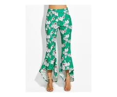 Color Block Floral Print Wide Legs Womens Pants