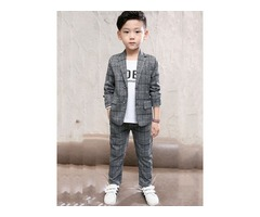 Plaid Single-breasted Jacket with Pants Boys Suit