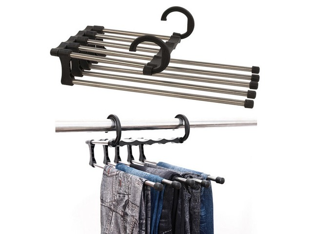 Stainless Steel Multifunction Retractable Trousers Hanger Jeans Holder | free-classifieds-usa.com
