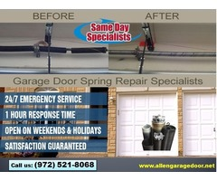 Local 1 hrs Garage Door Spring Installation and Repair Services ($25.95) Allen |Dallas, 75071, TX
