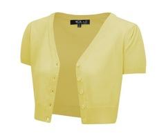 Yemak Sweater | Short Sleeve Cropped Bolero Cardigan Sweater Vintage Inspired Pinup HB2137(S-L)