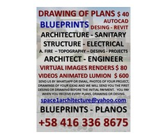 PLANS $ 40.-BluePrints – DRAWING.-.-.- Dibujo de Planos en Autocad.