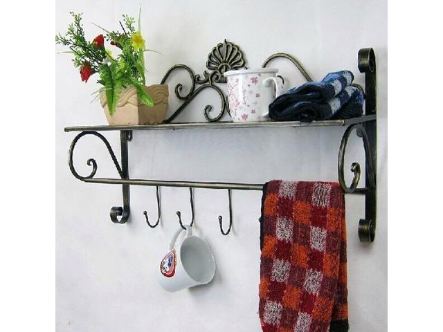 Iron Craft Wall Hanging Towel Rack Bathroom Storage Shelf | free-classifieds-usa.com