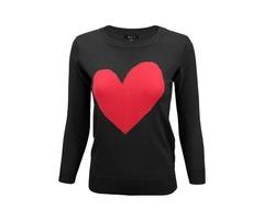Yemak Sweater | Women's Love Heart Chenille Round Neck 3/4 Sleeve Casual Sweater MK3595