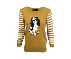 Yemak Sweater | King Charles Spaniel 3/4 Sleeve Jacquard Casual Crewneck Pullover Sweater MK3199