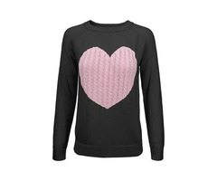 Yemak Sweater | Women's Love Heart Rounded Neck Long Sleeve Warm Pullover Sweater MK3506