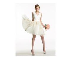 V-Neck Lace Appliques Mini Bridesmaid Dress