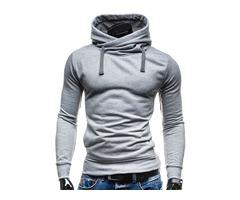 Pullover Solid Color Slim Mens Hoodie