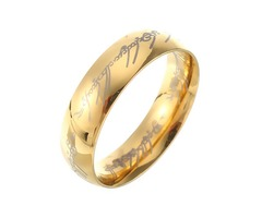 18K Gold Plated Lord of the Rings Stainless Steel LOTR Finger Ring for Unisex