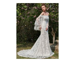 Fancy Long Sleeves Off the Shoulder Lace Wedding Dress